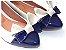 Sapatilha Off White E Azul Laço Grande Bico Fino - Imagem 1