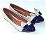 Sapatilha Off White E Azul Laço Grande Bico Fino - Imagem 2