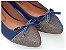 Sapatilha Azul Com Laço Bico Fino Com Brilho - Imagem 1