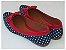 Sapatilha Poá Azul Com Vermelho Laço Bico Fino - Imagem 3