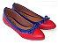 Sapatilha Vermelha Com Azul Laço Bico Fino - Imagem 2