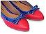 Sapatilha Vermelha Com Azul Laço Bico Fino - Imagem 1