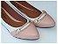 Sapatilha Branca Com Rosê Cordão Bico Fino - Imagem 1