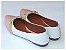 Sapatilha Branca Com Rosê Cordão Bico Fino - Imagem 3