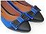 Sapatilha Azul Com Preto Laço Bico Fino - Imagem 1