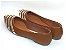 Sapatilha Caramelo Com Faixas Douradas Bico Fino - Imagem 3