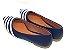 Sapatilha Azul Marinho Com Faixas Brancas Bico Fino - Imagem 3