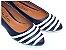 Sapatilha Azul Marinho Com Faixas Brancas Bico Fino - Imagem 1