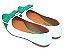 Sapatilha Branca Com Verde Laço Bico Fino - Imagem 3