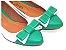 Sapatilha Branca Com Verde Laço Bico Fino - Imagem 1