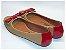 Peep Toe Caramelo Com Laço Em Verniz Vermelho - Imagem 3