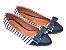 Sapatilha Listrada Azul Tecido E Napa Bico Fino - Imagem 3