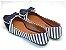Sapatilha Listrada Azul Tecido E Napa Bico Fino - Imagem 2
