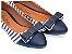 Sapatilha Listrada Azul Tecido E Napa Bico Fino - Imagem 1