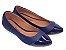 Sapatilha Azul Marinho Com Bico Fino Em Verniz - Imagem 2