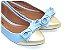 Sapatilha Azul Bebê Com Bico Dourado Laço Médio - Imagem 1