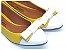 Sapatilha Amarela Com Laço E Bico Fino Brancos - Imagem 1