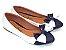 Sapatilha Branca Com Azul Laço Grande Bico Fino - Imagem 2