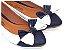 Sapatilha Branca Com Azul Laço Grande Bico Fino - Imagem 1