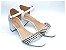 Sandália Branca com Tira em Palha Salto Grosso - Imagem 1