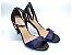 Sandália com Salto Fino Preto com Tira Fina Azul Marinho - Imagem 1