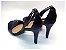 Sandália com Salto Fino Preto com Tira Fina Azul Marinho - Imagem 2