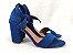 Sandália Suede Azul Salto 7 cm c/ Amarração - Imagem 5