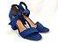 Sandália Suede Azul Salto 7 cm c/ Amarração - Imagem 7