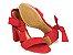Sandália Suede Vermelha Salto 7 cm c/ Amarração - Imagem 6