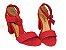 Sandália Suede Vermelha Salto 7 cm c/ Amarração - Imagem 3