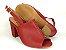Sandália Aberta Vermelha Salto 8 cm Chanel - Imagem 5