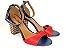 Sandália Azul Marinho com Vermelho Salto Colorido 7 cm - Imagem 2