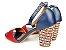 Sandália Azul Marinho com Vermelho Salto Colorido 7 cm - Imagem 6