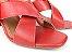 Tamanco Aberto Vermelho com Faixas Transversais Salto Taça 8 cm - Imagem 4
