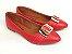 Sapatilha Vermelha com Fivela Grande Bico Fino - Imagem 2