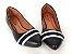 Sapatilha Preta Bico Fino com Faixa Têxtil Branca Azul - Imagem 4