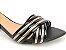 Sandália Preta com Tiras Verniz Pewter Salto Bloco Médio Bico Folha 6 cm - Imagem 2