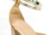 Scarpin Soft Creme com Textura Aberto com Tira Salto Nude Antique Bloco 8 cm - Imagem 2