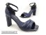 Sandália Soft Azul Marinho Navy Acolchoada Salto Meio Bloco 8 cm - Imagem 1