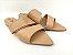 Rasteirinha Luxo Nude com Faixas Largas e Bico Folha - Imagem 3