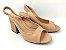 Peep Toe Chanel Nude Antique Salto Bloco Flare 8 cm - Imagem 4