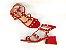 Sandália Spike Metalizado Nobuck Vermelha Salto 5 cm - Imagem 7