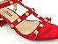 Sandália Spike Metalizado Nobuck Vermelha Salto 5 cm - Imagem 8