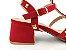 Sandália Spike Metalizado Nobuck Vermelha Salto 5 cm - Imagem 2