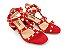 Sandália Spike Metalizado Nobuck Vermelha Salto 5 cm - Imagem 4