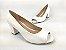 Peep Toe Clássico Branco Salto Bloco 6 cm - Imagem 4