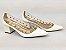 Scarpin Branco com Transparência Spike Metalizado Salto Bloco 5 cm - Imagem 1