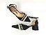 Sandália Scarpin Têxtil Preta com Cordões Salto Bloco 6 cm - Imagem 6