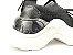 Tênis Chunky Sneaker Preto Clássico Trabalhado em Tecido Solado 5 cm - Imagem 4