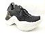 Tênis Chunky Sneaker Preto Clássico Trabalhado em Tecido Solado 5 cm - Imagem 3